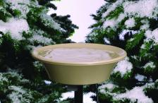Heated Stone-Colored Bird Bath with Pole Stand
