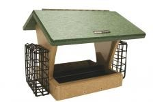 Recycled 4 QT Two Sided Hopper Feeder with 2 Suet Cages
